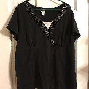 Fashion Bug Black Shirt with Decorative Neckline